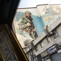 View from the taxi of a murales about the martir of the war Iran-Iraq. Tehran, Iran. February 2019.