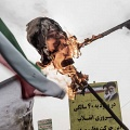 Iran, 40 years of revolution. Iranians gather in Azadi Square (Freedom) during the ceremony celebrating the Islamic revolution and set fire to a puppet that has the head of US President Donald Trump. Tehran, Iran. February 11th 2019.